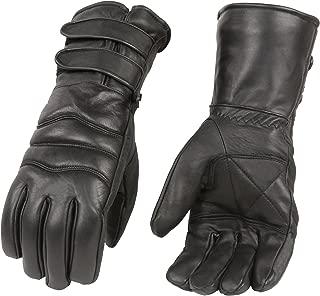 男士优质皮革手套,带双带长款袖口,保暖衬里摩托车手套(黑色) X大码 黑色 SH233-BLK-XL