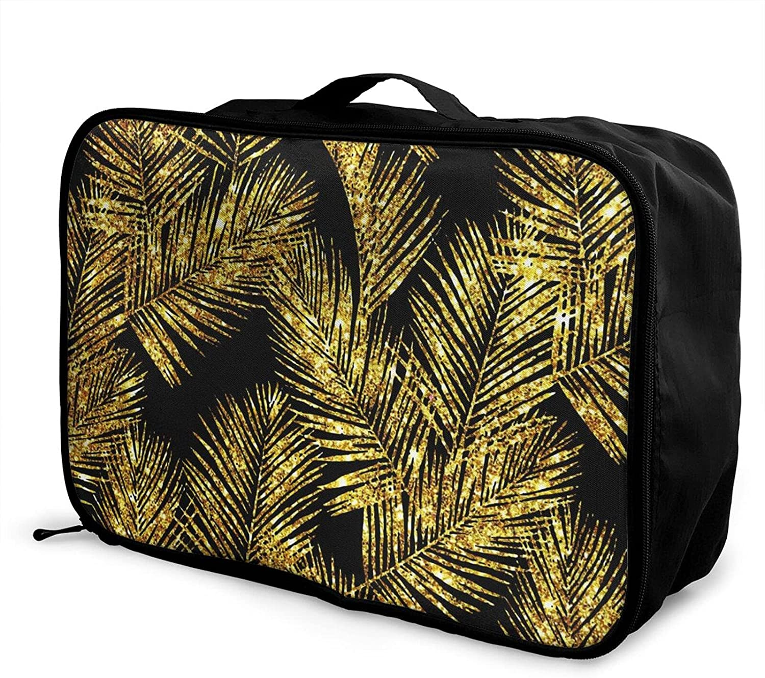 Foldable Travel Bag Tote Gold Carry- Hipster lowest price Oakland Mall Palm Leaves Glitter
