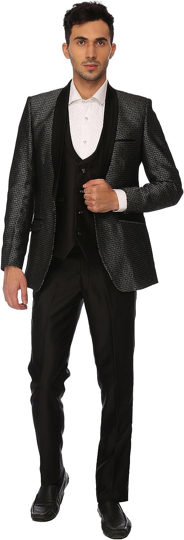LUXURAZI Grey Jacquard Wedding Wear 3 Piece Suit