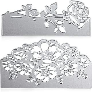 2 Pieces Rose Cutting Die Flower Shape Embossing Dies Carbon Steel Die Cuts Stencils for Scrapbooking Card Making Supplies