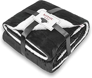 KOYOU Super Soft Black Plush Sherpa Borrego Blanket Throw Queen or Full Size Bed