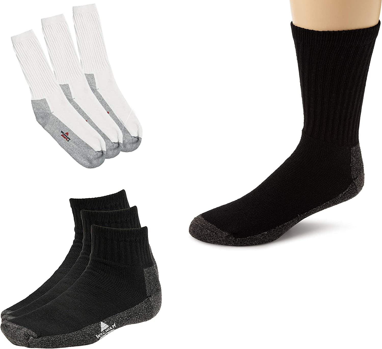 Wigwam Cotton Blend Cushioned Crew Grey and Black with 3Pack Crew Socks Black