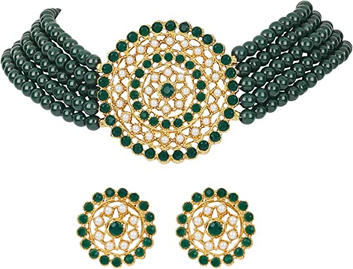 Latest Choker Design Traditional Stylish Fancy Green Pearl Necklace Jewellery Set for Women