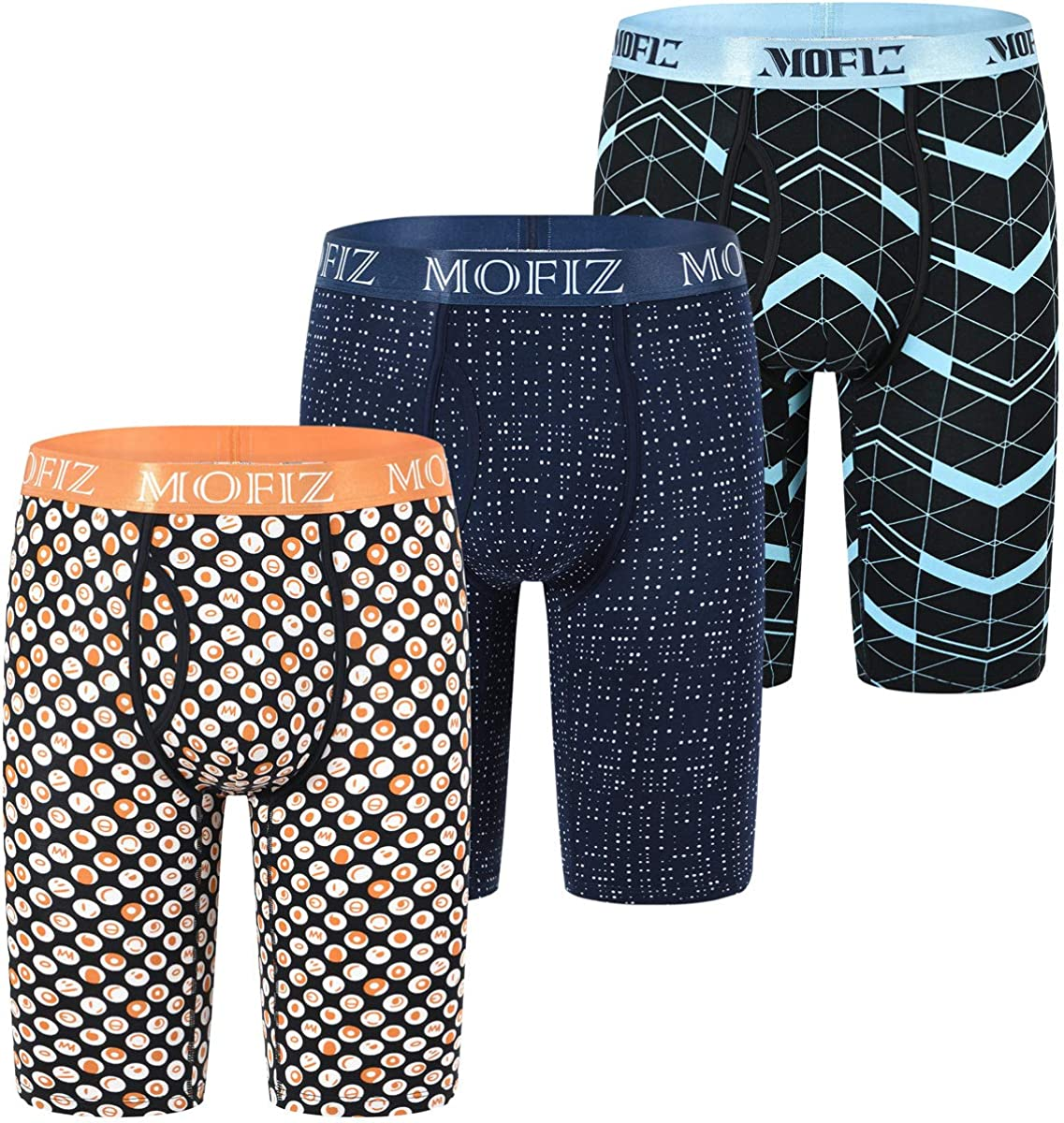 JINSHI Men's Underwear Extra Long Leg Boxer Briefs Inseam 8
