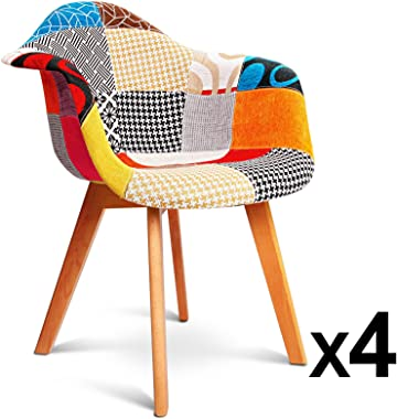 4 x Artiss Eames DAW Dining Chairs Wooden Fabric Upholstered Kitchen Armchairs