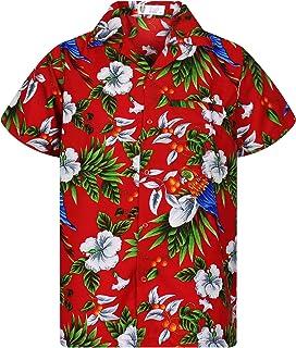 5a61720a Funky Hawaiian Shirt Men Shortsleeve Frontpocket Hawaiian-Print Cherry  Parrots Party Flowers