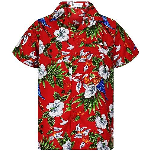 46f58de9 Funky Hawaiian Shirt Men Shortsleeve Frontpocket Hawaiian-Print Cherry  Parrots Party Flowers