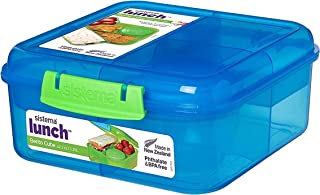 Sistema Lunch Collection Small Bento Box, 5.3 Cup | BPA Free Food Storage Container | Color Varies, Contrasting Klips