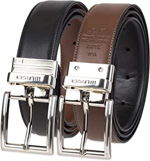 کمربند چرمی قابل برگشت Tommy Hilfiger - گاه به گاه برای شلوار جین مردانه با بند دو طرفه و قلاب نقره ای