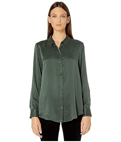 Eileen Fisher Sandwashed Silk Charmeuse Classic Collar Shirt (Deep Hemlock) Women