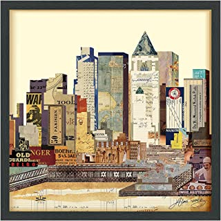Empire Art Direct New York City Skyline A Dimensional Collage Handmade by Alex Zeng Framed Graphic Landscape Wall Art, 25