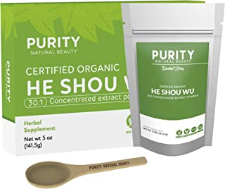 Certified Organic He Shou Wu - Large 5oz Bag of 30:1 Concentrated Organic Fo Ti Powder Plus Free Bamboo Spoon