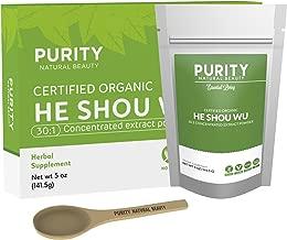 Certified Organic He Shou Wu - Large 5oz Bag of 30:1 Concentrated Organic Fo Ti Powder Plus Free Bamboo Spoon