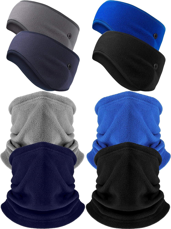 8 Pieces depot Winter Fleece Neck Memphis Mall Button Warmer F Gaiter Headband