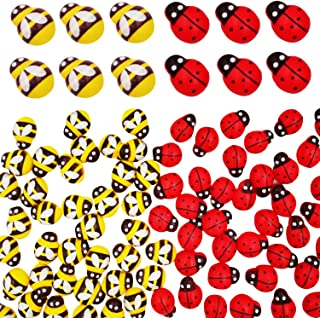 100 Pieces Tiny Wooden Bee and 100 Pieces Wooden Ladybugs Self-Adhesive Embellishments for Craft Scrapbooking DIY Decoration