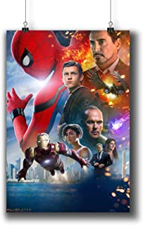 Pentagonwork Spider-Man Homecoming Movie Poster 11.7x16.5 A3 Textless Prints w/Stickers 2017 Film, Tom Holland Robert Down...