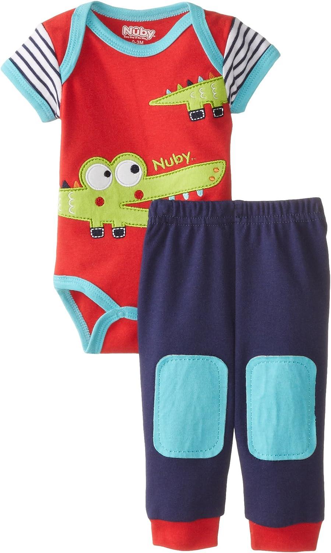 Nuby Boys' Baby Newborn Bodysuit and Pant Set Alligator