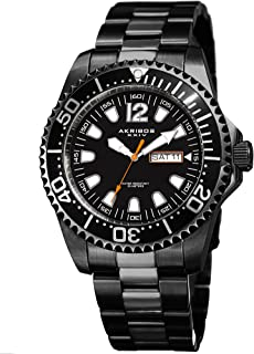 Great for Father's Day - Akribos Men's Diver Watch – Water Resistant to 165 Ft - Date Window on Dial Quartz Movement - Stainless Steel Link Designer Bracelet - AK947