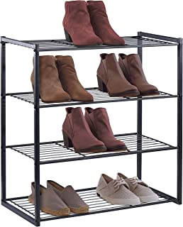 HOUSE DAY 4 Tier Shoe Rack Organizer Entryway Shoe Storage, Black Shoe Rack with Premium Metal, Space-Saving Design, Easy to Assemble, 25 Inch Perfect Size, Sturdy & Elegant for Shoes Organizing