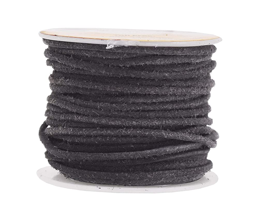 Mandala Crafts Round Suede Cord for Jewelry Making, Genuine Cowhide Leather Rope for Beading, Braiding, DIY Crafting (2mm 20 Yards, Black)