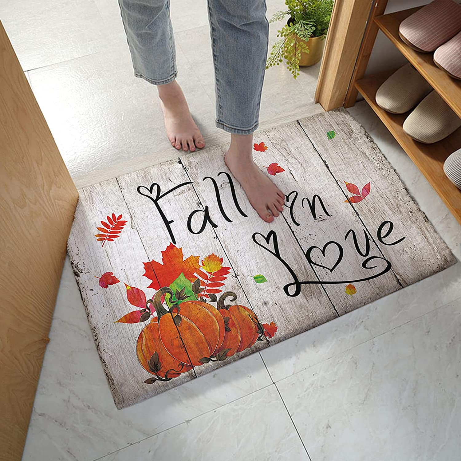 Bath Rug safety Absorbent Doormat Thanksgiving Autumn New product! New type Maple Lea Pumpkin