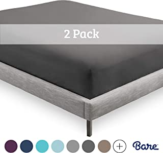 Bare Home 2-Pack Fitted Bottom Sheets Queen - Premium 1800 Ultra-Soft Wrinkle Resistant Microfiber - Hypoallergenic - Deep Pocket (Queen, Grey)