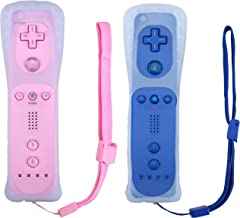 Poulep 2 Packs Wireless Controller for Nintendo Wii/Wii U Console with Silicone Case and Wrist Strap (Pink and Deep Blue)