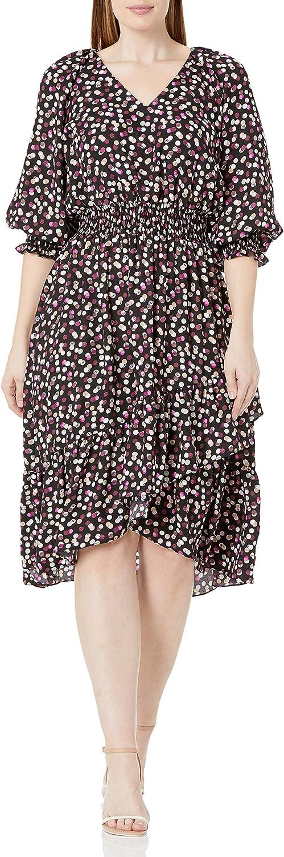 Gabby Skye Women's Plus Size 3/4 V-Neck Smocked Waist and Sleeves Midi High Low Polka Dot Crepe Dress