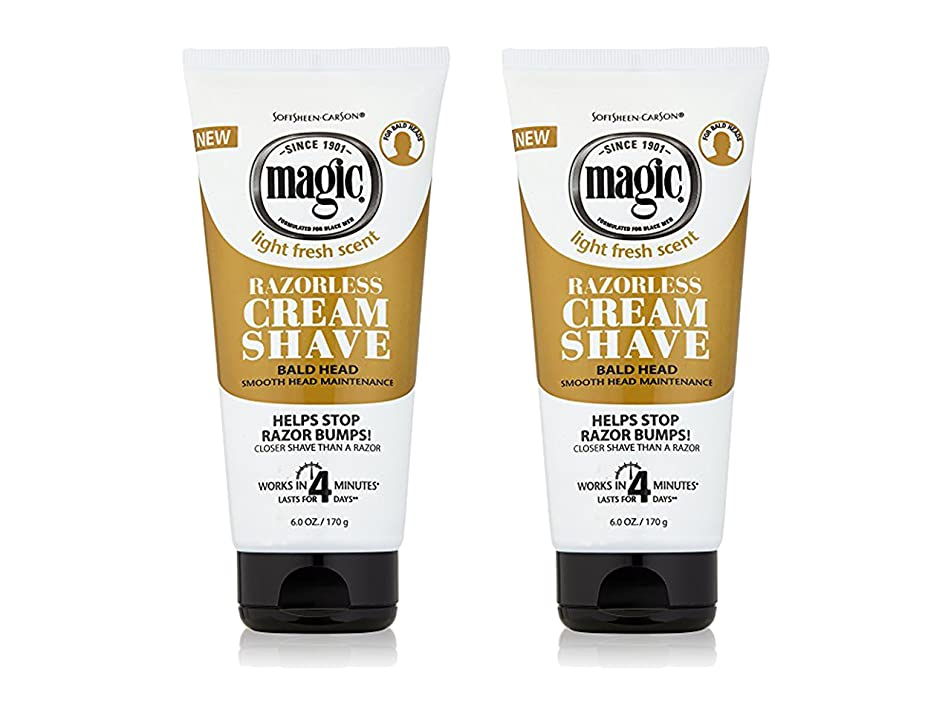Set of 2 Magic Shave 6 Oz. Cream Shave Razorless Cream Shave Smooth for Bald Head Maintenance bundled by Maven Gifts