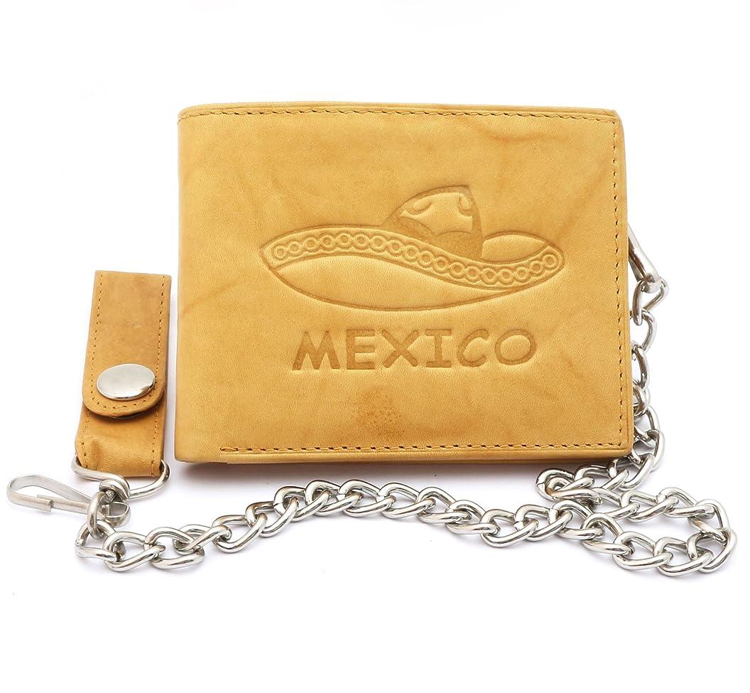 エンドウ大いにラウンジ二つ折りベージュ本革チェーン財布エンボス加工デザインメキシコソンブレロ