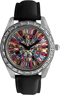 Women Kaleidoscope Watch with Crystal Bezel & Leather Strap Band