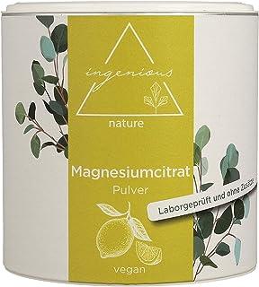 ingenious nature® Sprawdzony laboratoryjnie cytrynian magnezu w proszku 300 g – proszek magnezu bez dodatków, wegański – z...
