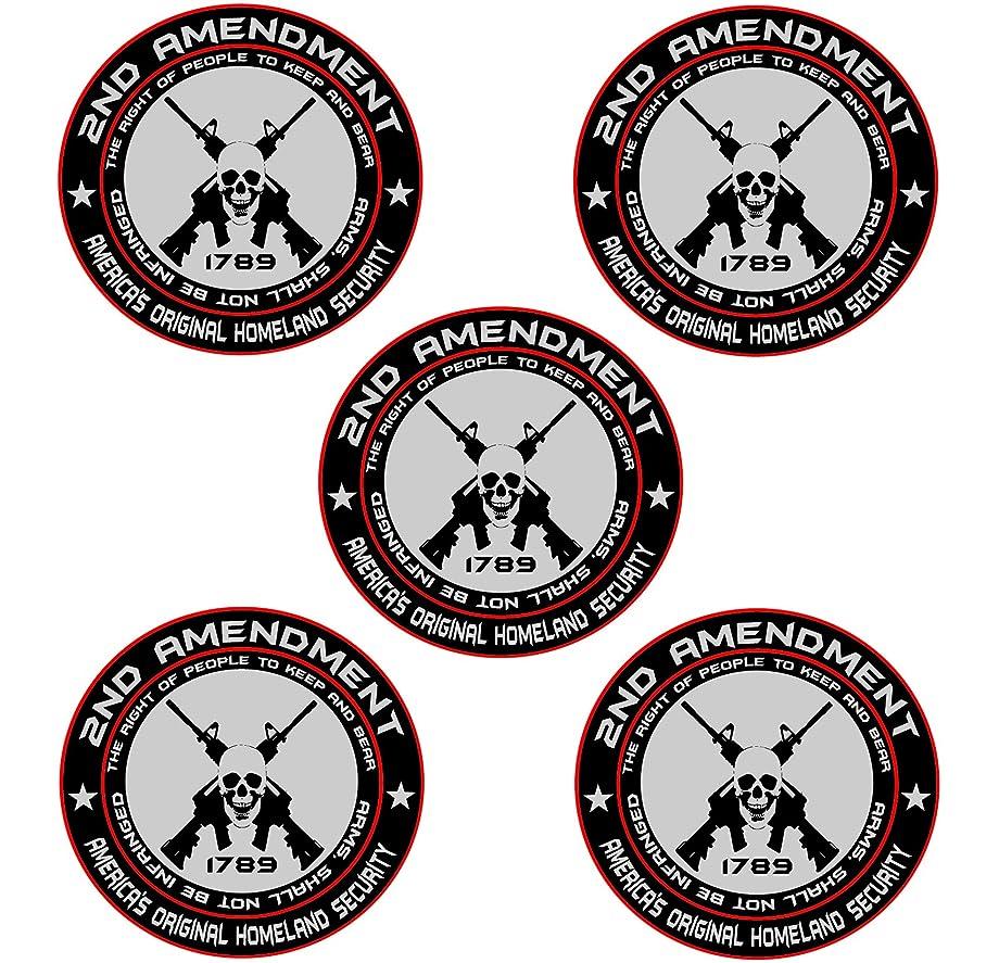 5x 2nd Amendment - America's Original Homeland Security Round Bumper Sticker Decal (5 Inch)