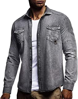 Haseil Mens Jean Jackets Lightweight Silm Fit Long Sleeve Button Denim Jackets