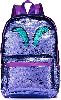 Reversible Sequins School Backpack for Girls Students Magic Glitter Mermaid Lightweight Travel Backpack