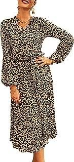 HenzWorld Abito Leopardato da Donna Manica Lunga Boho Abiti Casual Abito Longuette da Donna a Vita Alta con Coulisse sul D...