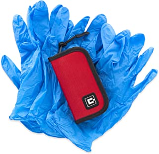 Gloves Travel case with 5 Pairs of Nitrile Gloves (Red)