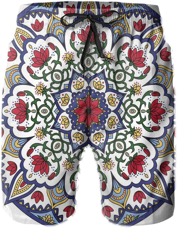 Asian Ethnic Mandala Lotus Flowers Kaleidoscopic Circular Ancient Traditional Drawstring Waist Beach Shorts for Men Swim Trucks Board Shorts with Mesh Lining,L