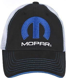 Checkered Flag Men's Mopar Cap Adjustable Black & White Mesh Back Trucker Hat