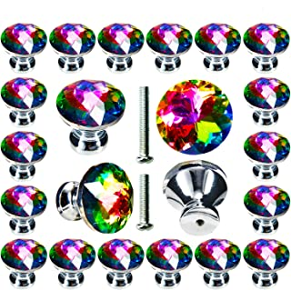 Cabinet Knobs, POZEAN 30 Pack Colorful Crystal Knobs 1.18inch (30mm) for Drawer, Dresser, Cabinet Come with 2 Different Si...
