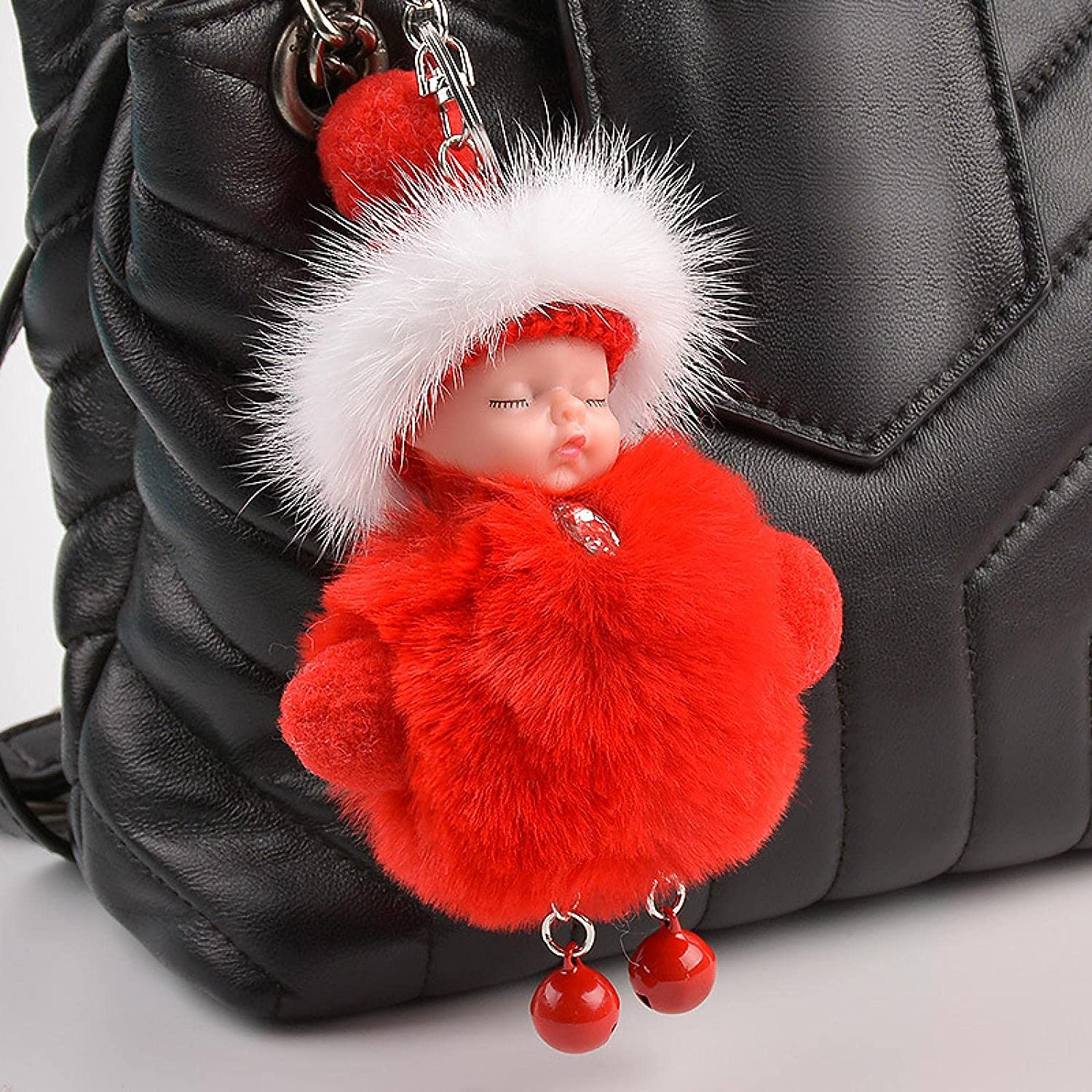 Jin Chuang New Pompom Sleeping baby19cm Keychain Cute Fluffy Plush Doll Keychains Women Girl Bag keyrings Cars Key Ring Jewelry Gift Porte cl Red