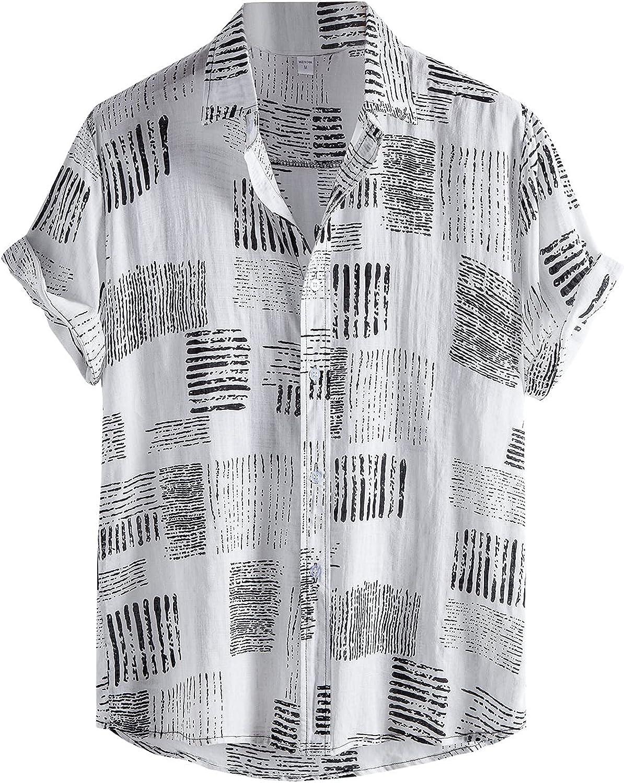 Men's Hawaiian Shirt Printed Linen Cotton Short Sleeve Button Down Regular Fit Beach Shirts with Pockets