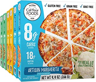 Cali'flour Foods Frozen Pizza (Variety Pack, 6 Pizzas) - Fresh Cauliflower Base | Low Carb, Gluten and Grain Free | Keto Friendly