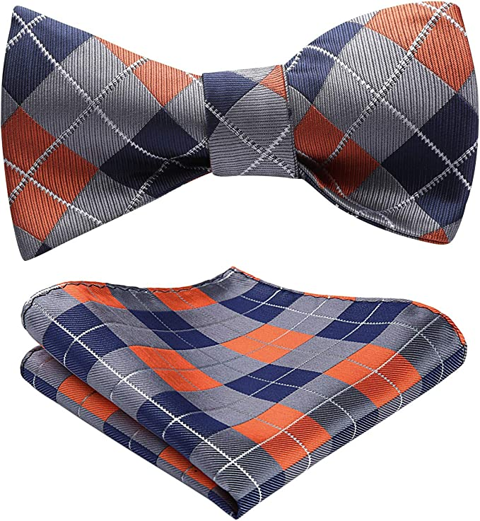 History of 1920s Men's Ties, Neckties, Bowties HISDERN Bow Tie Self Tie for Men Check Plaid bowtie Classic Formal Satin Bow Ties and pocket square set Tuxedo Wedding Party  AT vintagedancer.com