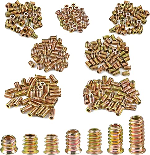 PGMJ 210 Pieces M6 Wood Inserts Bolt 7 Size Furniture Screw Combination, Nut Threaded Fastener Connector Hex Socket D...
