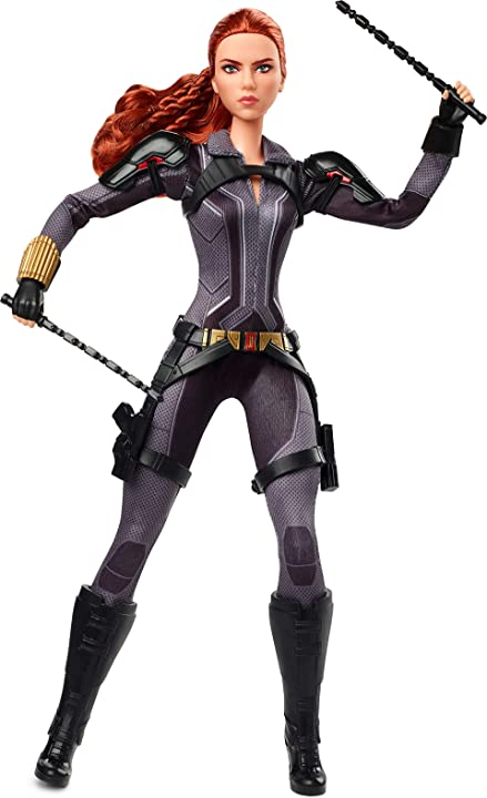 Barbie Marvel's Black Widow Doll, 11.5-in, Poseable with Red Hair, Wearing Armored Bodysuit and Boots, Gift for Collectors Amazon Exclusive