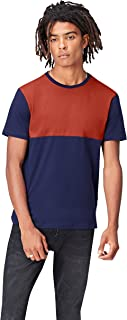 Activewear Men's T Shirt Cotton with Horizontal Colour Block and Crew Neck