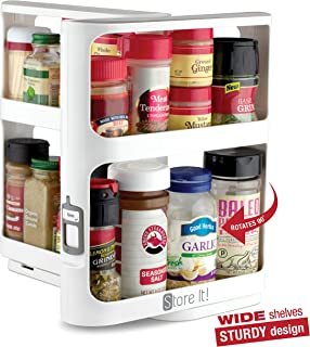 Cabinet Caddy (White) - Modular Rotating Spice Rack Organizer, Two 2-Tiered Shelves, Non-Skid Base - Perfect for Storing Prescriptions, Misc. Hardware, Essential Oils, Cosmetics and More