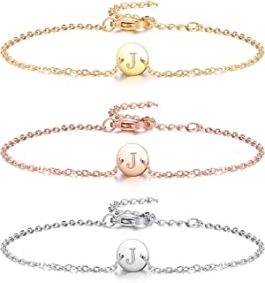 LOLIAS 3Pcs Initial Charm Bracelets Stainless Steel Dainty Small Round Coin Disc Initial Bracelet Engraved Letters