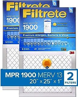Filtrete 20x25x1 Smart Replenishable AC Furnace Air Filter, MPR 1900, Premium Allergen, Bacteria & Virus, 2-Pack